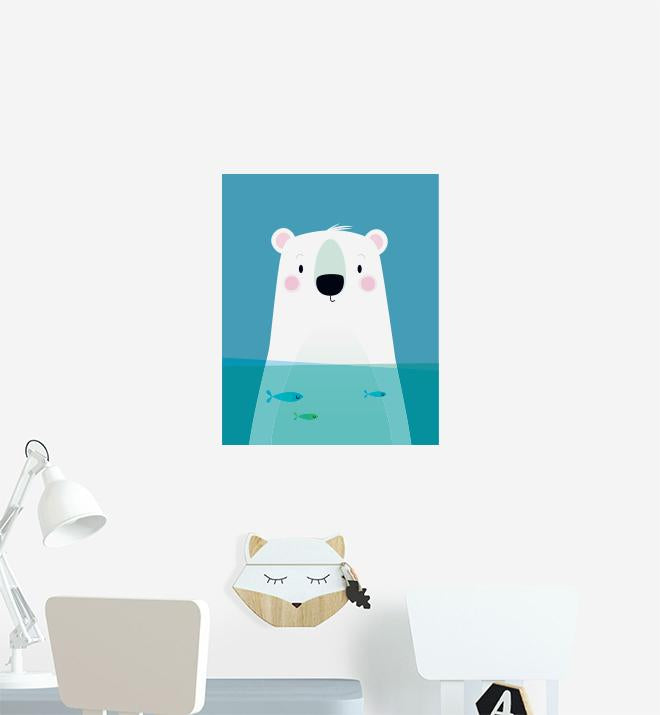 Polar Bear With Fish Wall Sticker