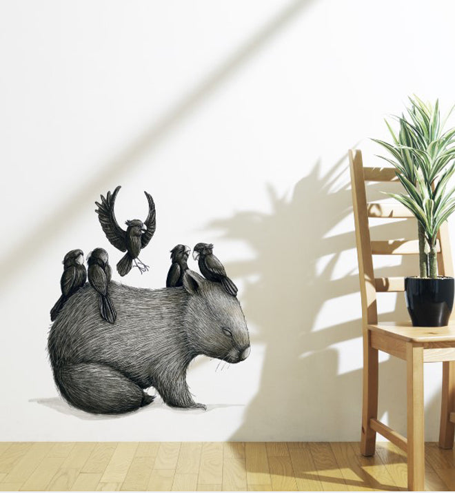Wombat 5 Cockies Wall Sticker