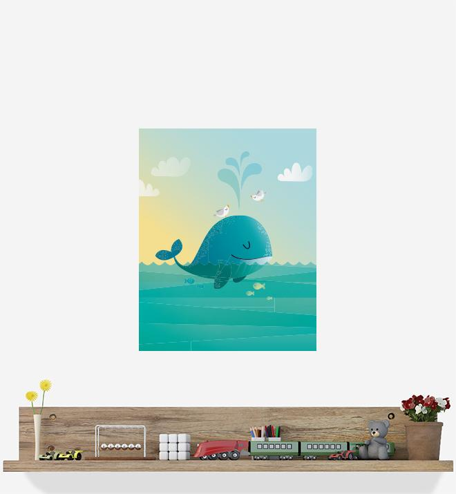 Whale With Bird Friends Wall Sticker