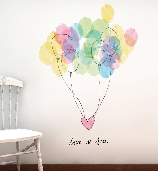 Free Love Balloons Wall Sticker