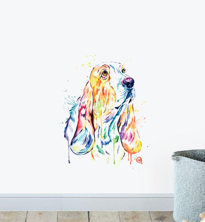 Basset Hound Watercolour Wall Sticker