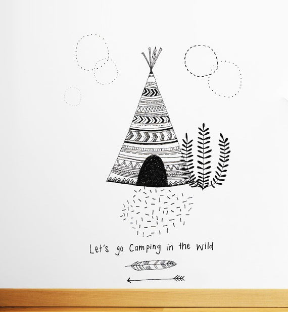Let's go Camping in the Wild Wall Sticker