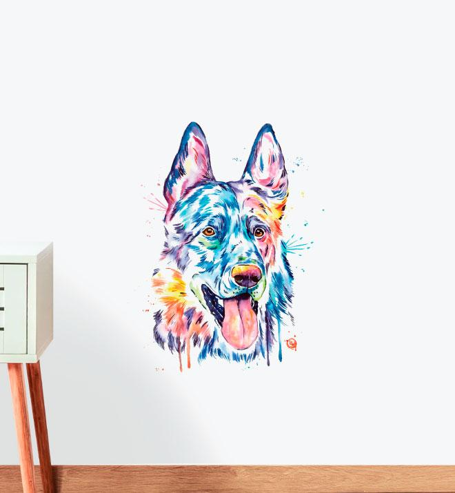 Black German Shepherd Wall Sticker