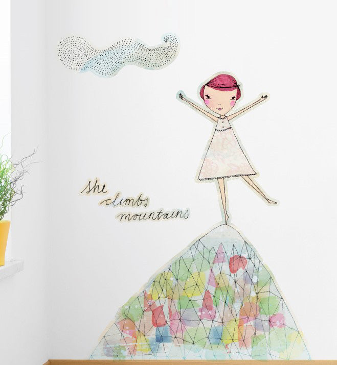 She climbs Mountains Wall Sticker