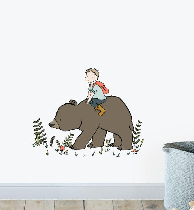 Boy Riding Bear In The Wild Wall Sticker