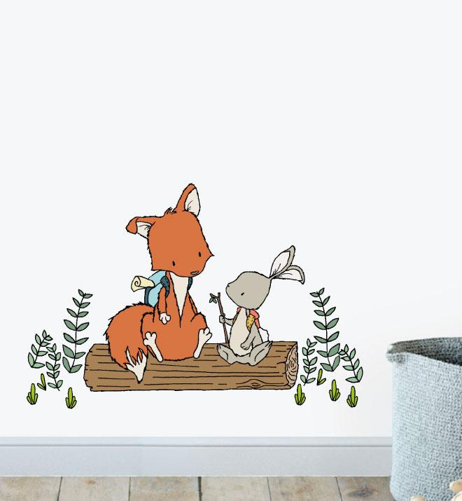 Fox and Bunny Want To Be Adventurers Wall Sticker