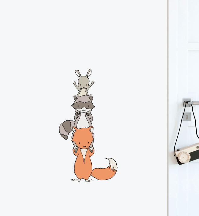 Woodland Animal Stack Wall Sticker