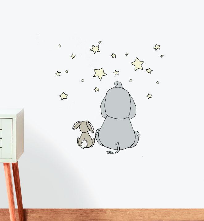Elephant and Bunny Friends Wall Sticker