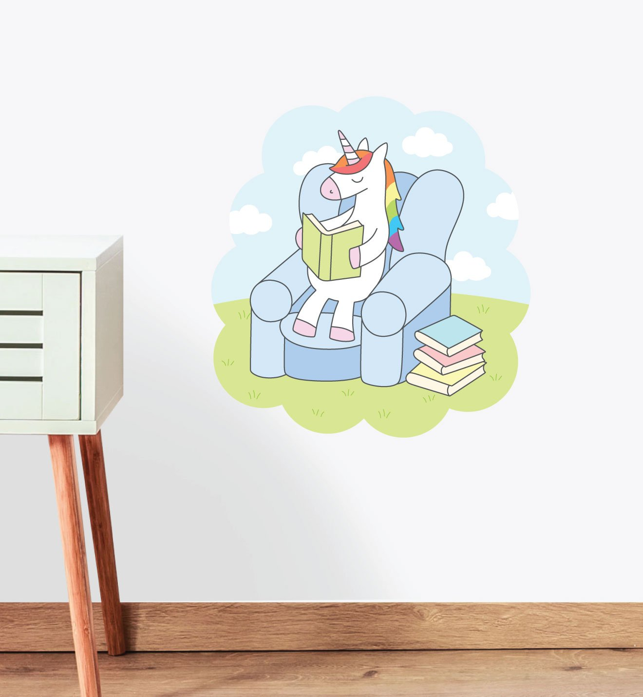Rainbow Unicorn Reading Wall Sticker