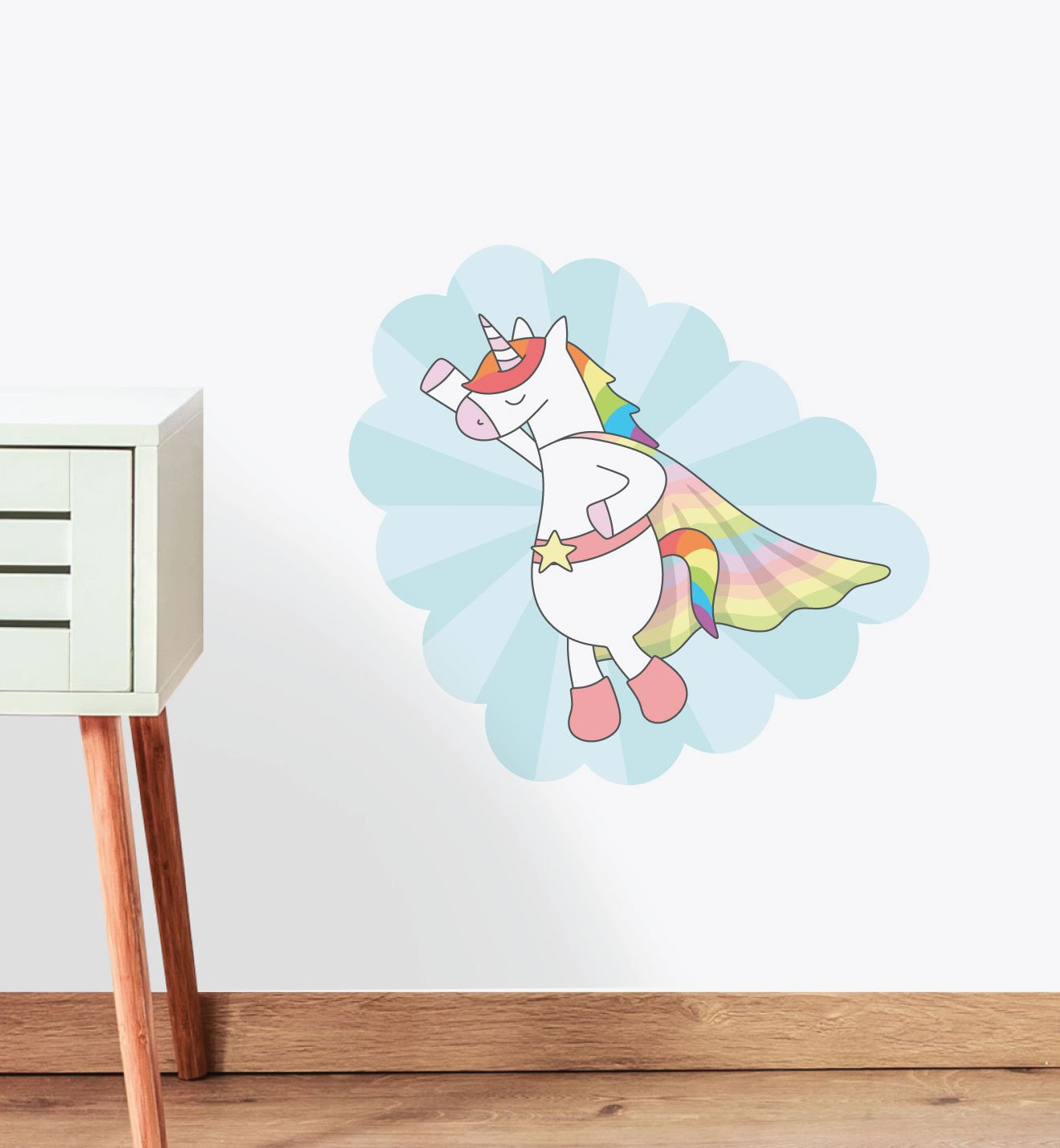 Rainbow Unicorn Super Hero Wall Sticker