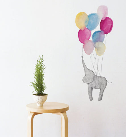 Elephant on Balloons Wall Sticker