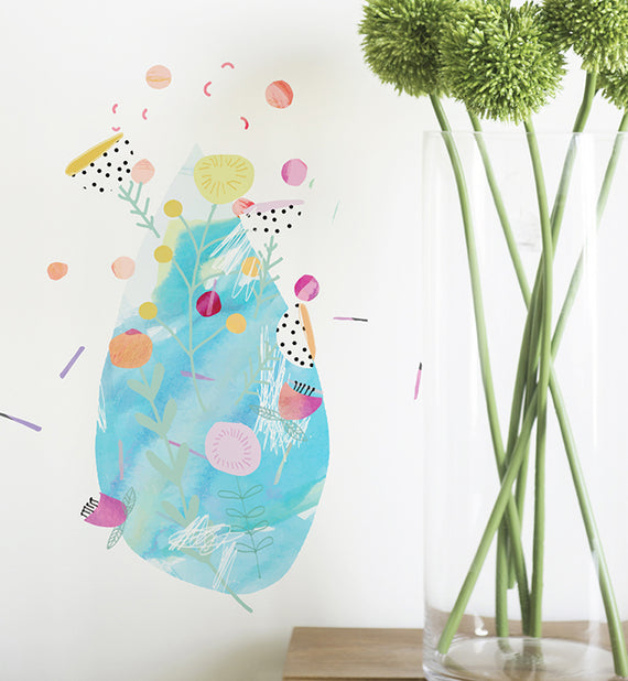 Flowery Raindrops Wall Sticker