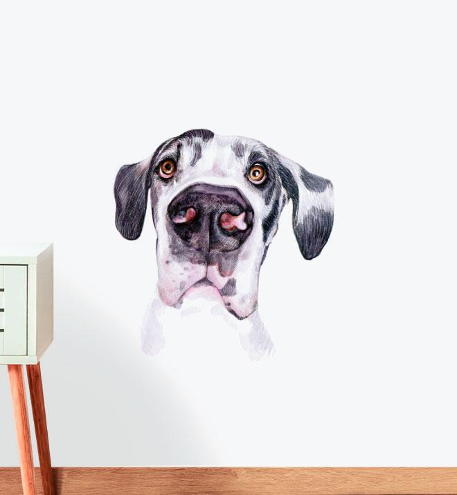 Great Dane Black and White Wall Sticker