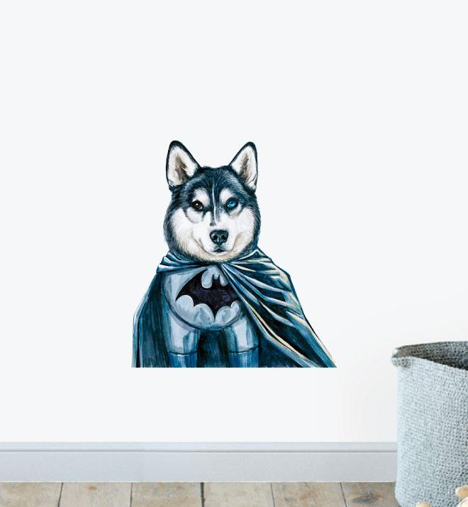 Batman Husky Superhero Dog Wall Sticker