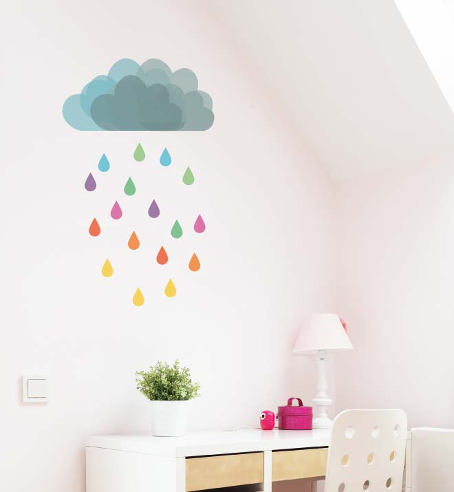 Cloud Rain Wall Sticker