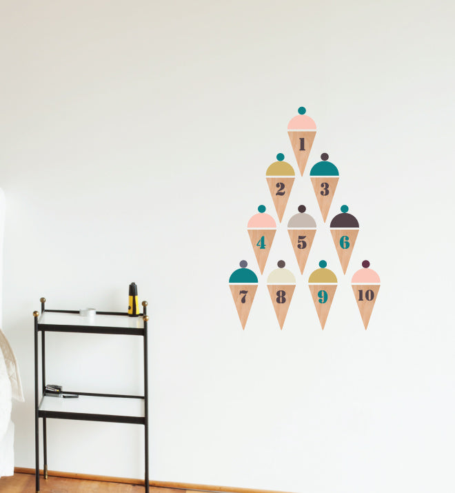 Ice Cream Numerals Wall Sticker