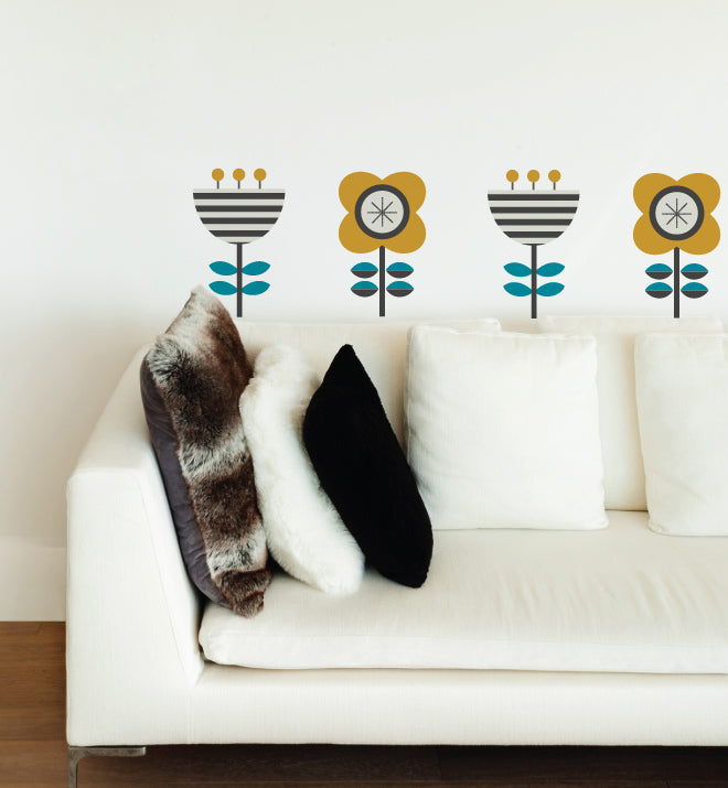 Scandi Flower Set Wall Sticker