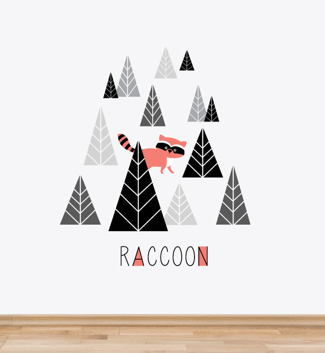 Woodland Raccoon Wall Sticker