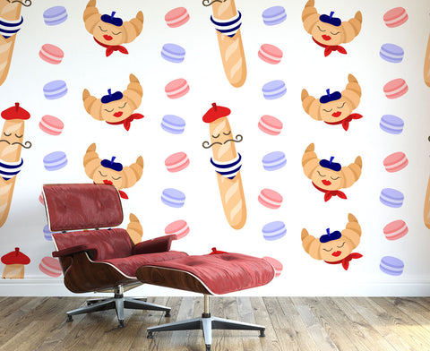Croissant and Baguette Wall Mural