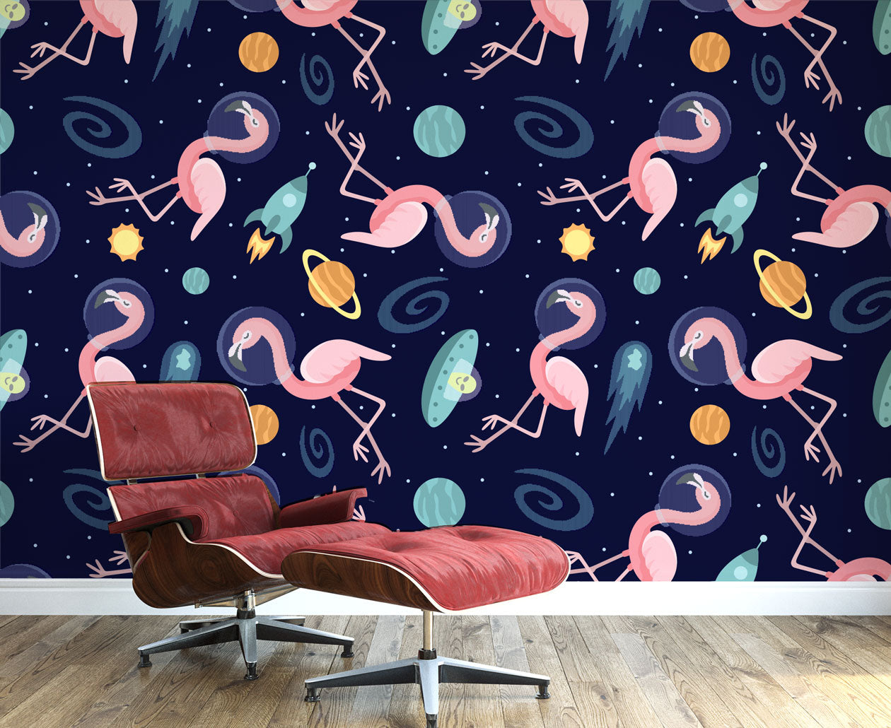 Flamingos In Space Wall Mural