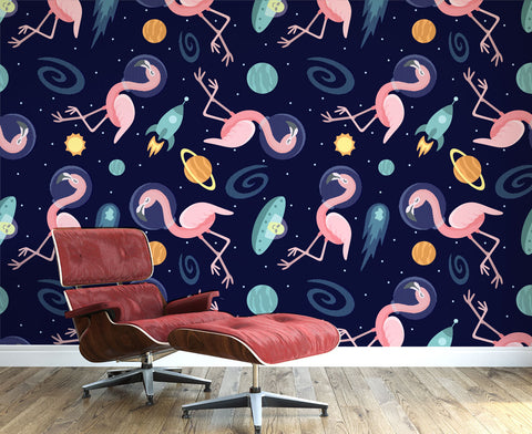 Flamingos In Space Wallpaper
