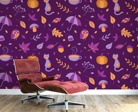 Purple Autumn Wall Mural