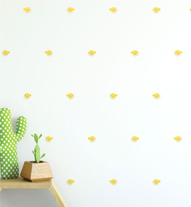 Puffer Fish Pattern (Collection of 24) Wall Sticker