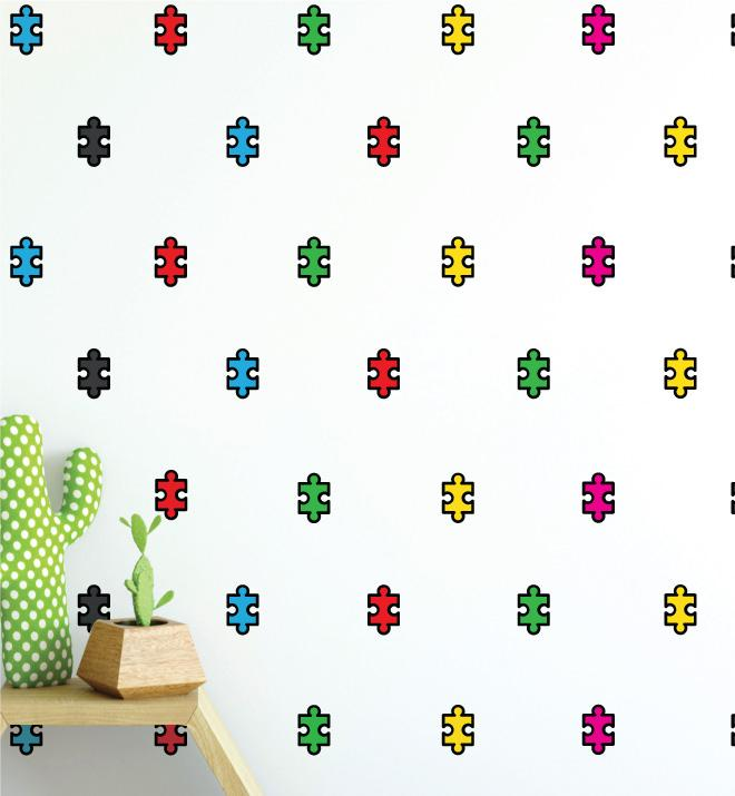 Puzzle Pieces Pattern (Collection of 18) Wall Sticker