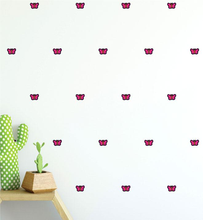 Pink Butterfly Pattern (Collection of 28) Wall Sticker