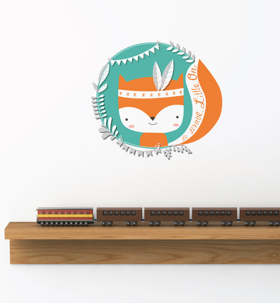 Tribal Fox Teal Wall Sticker