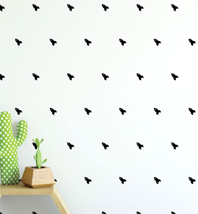 Rocket Pattern Black (Collection of 49) Wall Sticker
