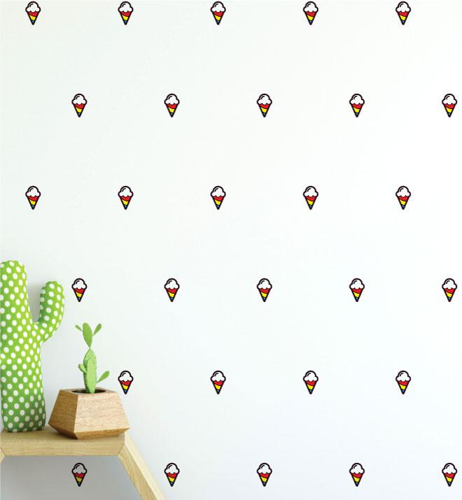 Icecream Cone Pattern (Collection of 26) Wall Sticker