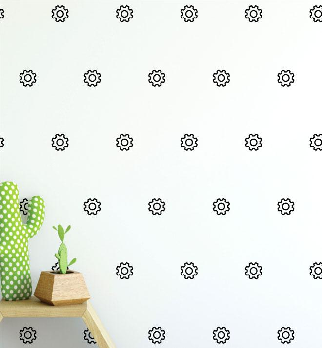 Gear Pattern (Collection of 15) Wall Sticker