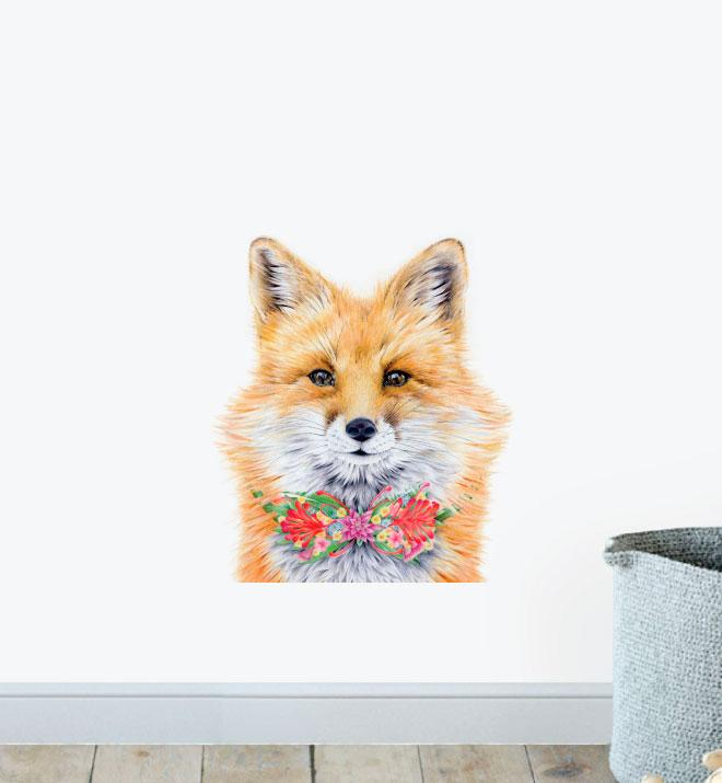 Detailed Fox Face Wall Sticker
