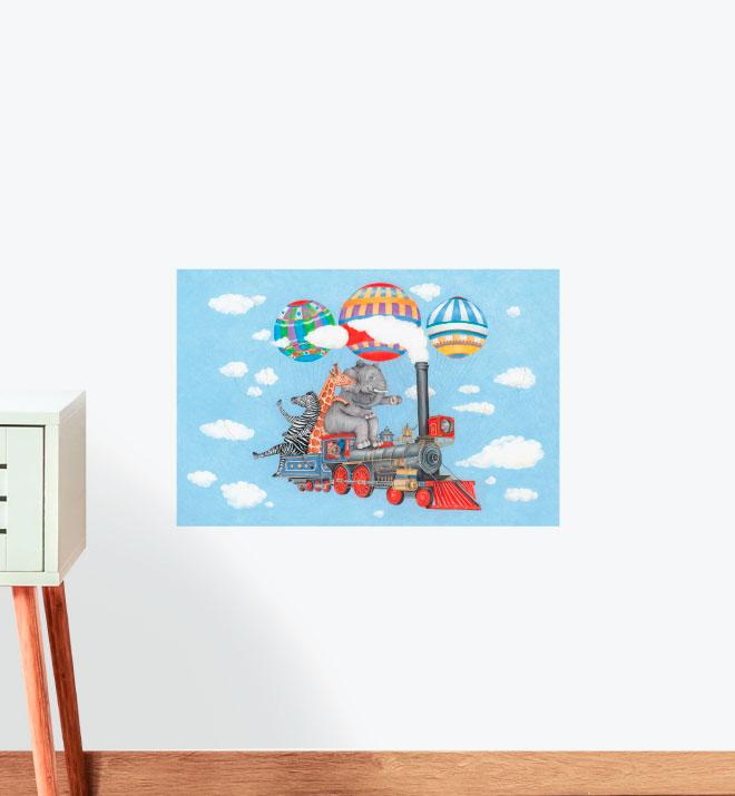 All Steam Ahead Flying Train Wall Sticker