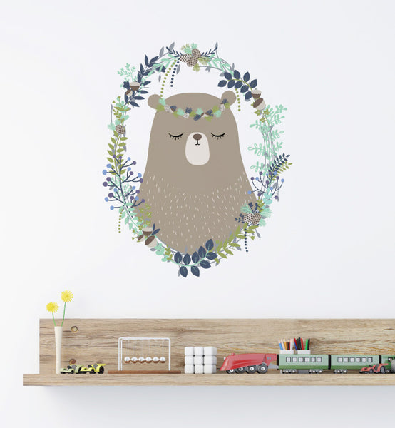 Woodland Wreath Bear Wall Sticker