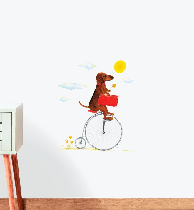 Dog Riding Penny-Farthing Wall Sticker