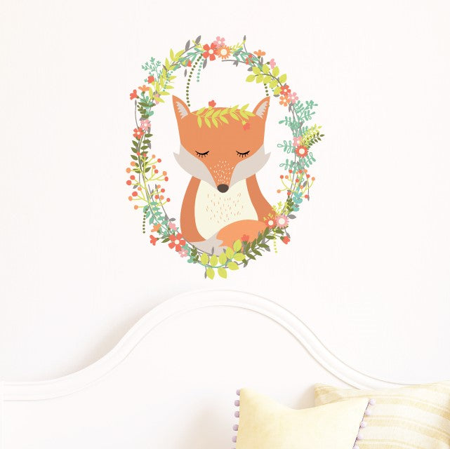 Woodland Wreath Fox Wall Sticker