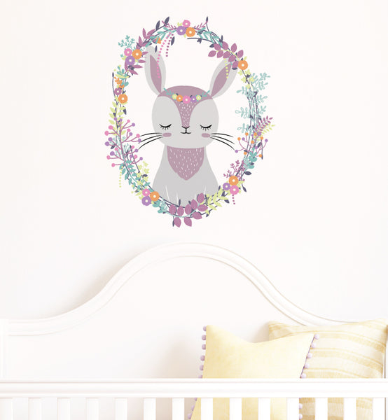 Woodland Wreath Rabbit Wall Sticker