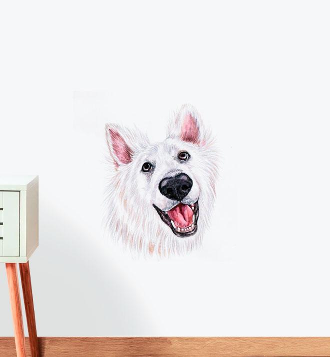 Happy American Eskimo Dog Wall Sticker
