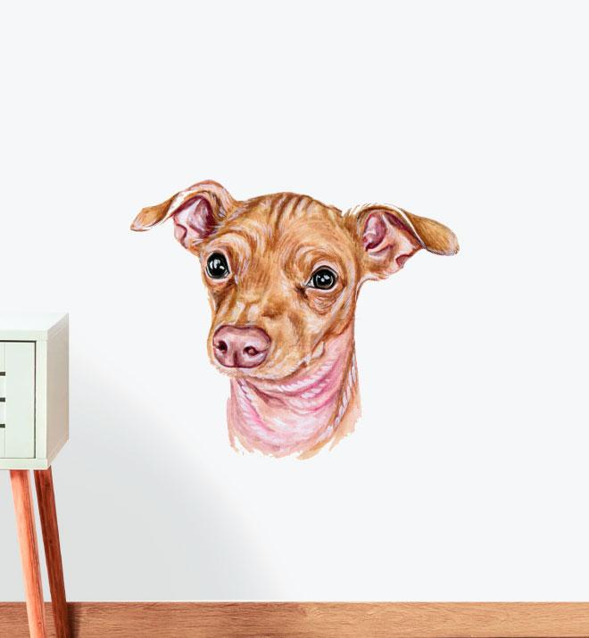 Small Brown Whippet Wall Sticker