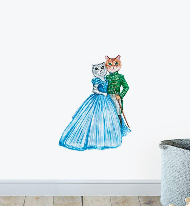 Handsome Tabby with Princess Kitty Wall Sticker