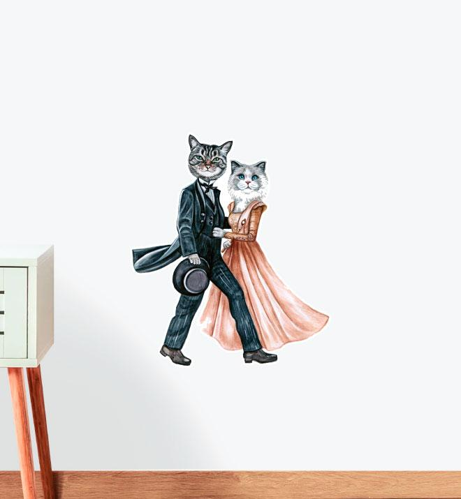 Miss Doll and Mr Grey Wall Sticker