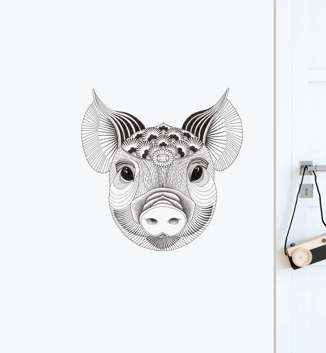 Wealthy Pig Wall Sticker