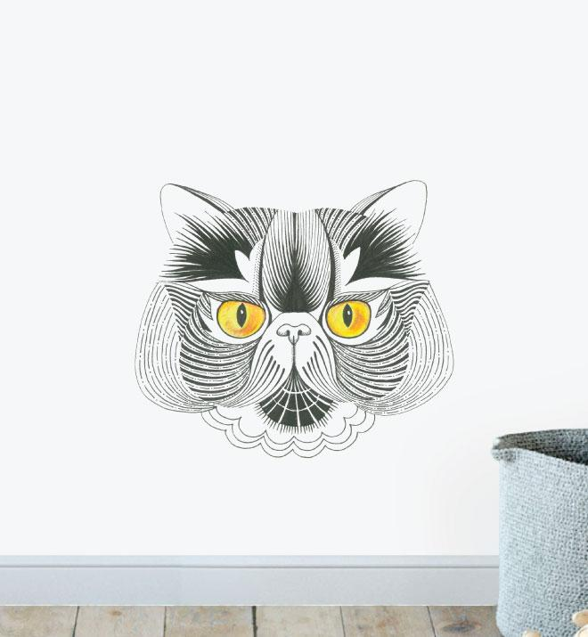 Excotic Shorthair with Piercing Eyes Wall Sticker