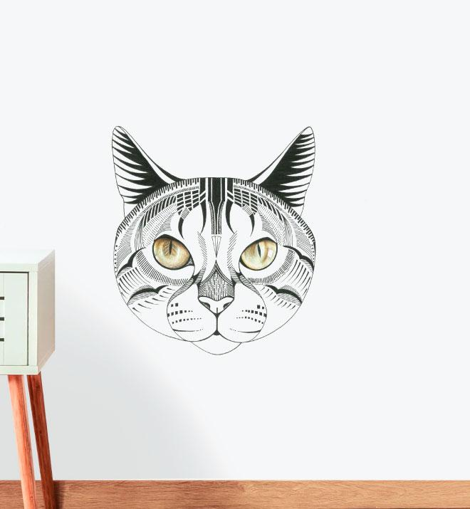 Tonkinese Cat with Alluring Eyes Wall Sticker