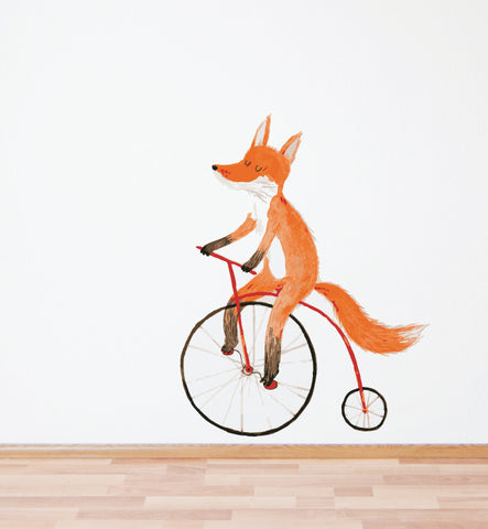 Fox on a Bike Wall Sticker