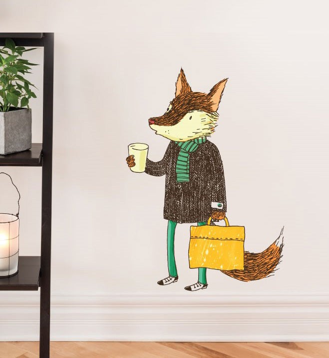 Coffee Fox Wall Sticker