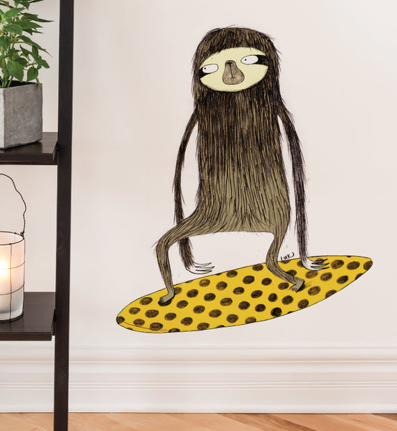 Surfing Sloth Wall Sticker