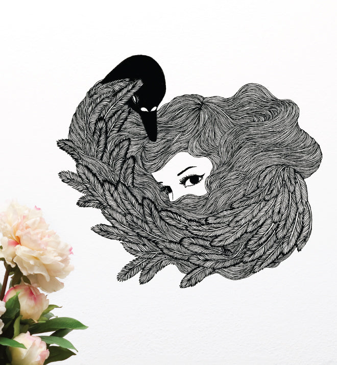 Feathers Girl Wall Sticker